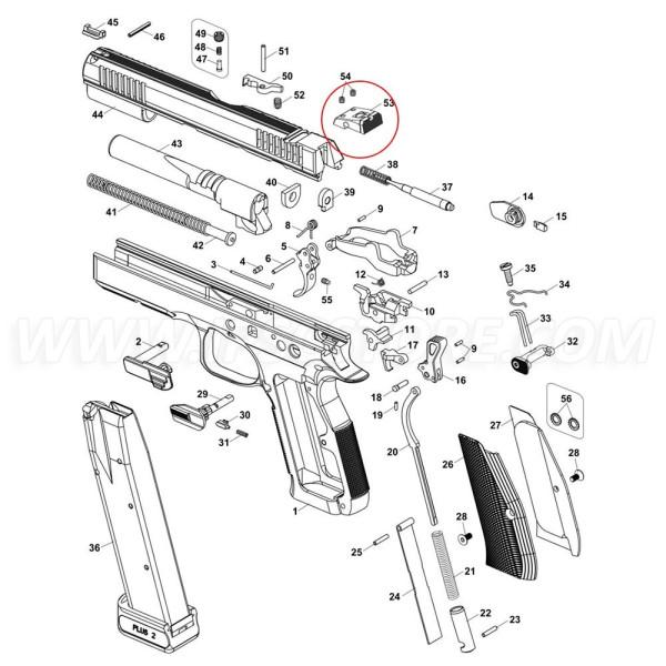 Alza Ajustable CZ OEM para CZ 75 SP-01 Shadow, CZ Shadow 2