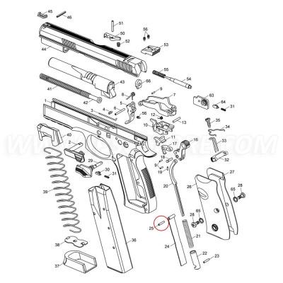 Штифт пластины защиты боевой пружины CZ SP-01