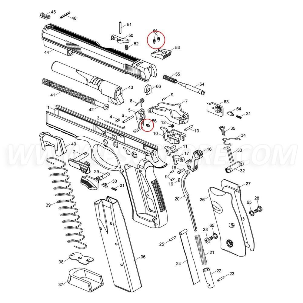 Винт-фиксатор целика и спускового крючка CZ SP-01