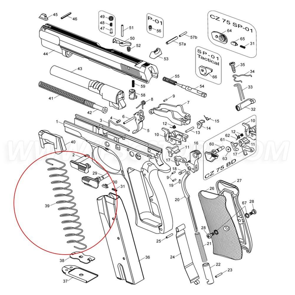 Пружина 16-зарядного магазина CZ 75/85