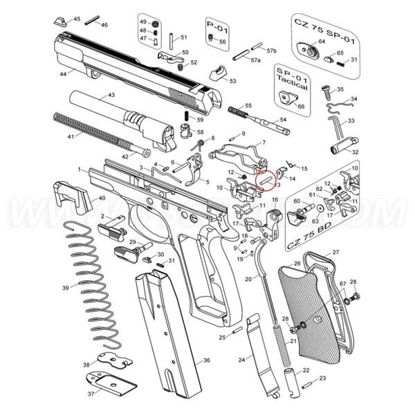 Штифт для шептала CZ 75 SP-01