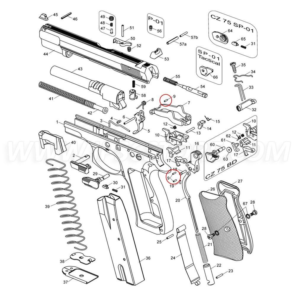 Штифт курка и тяги спускового крючка CZ 75, 85