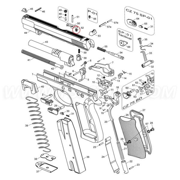 CZ 75 extractor rugó