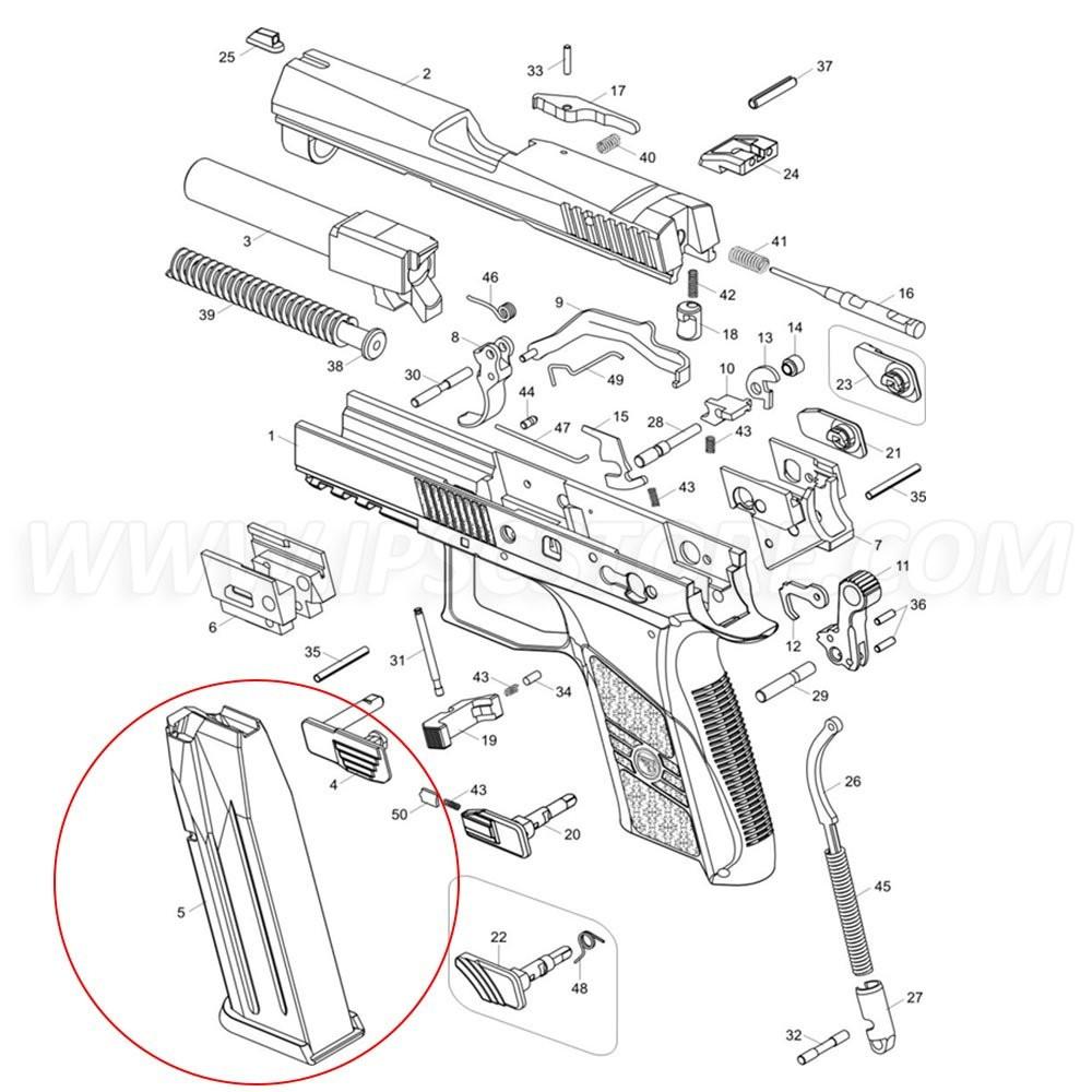 Магазин для CZ P-07 DUTY, 9x19мм, 16 патронов