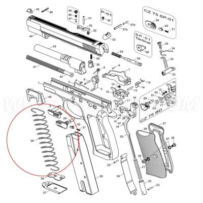 MEC-GAR CZ 75 tárrugó, 19 lőszer
