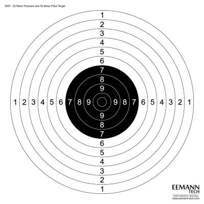 Мишень Eemann Tech ISSF 25M Tочного Огня & 50M Пистолетная Mишень