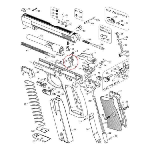 Спусковой крючок без отверстия для стопорного винта CZ SP-01