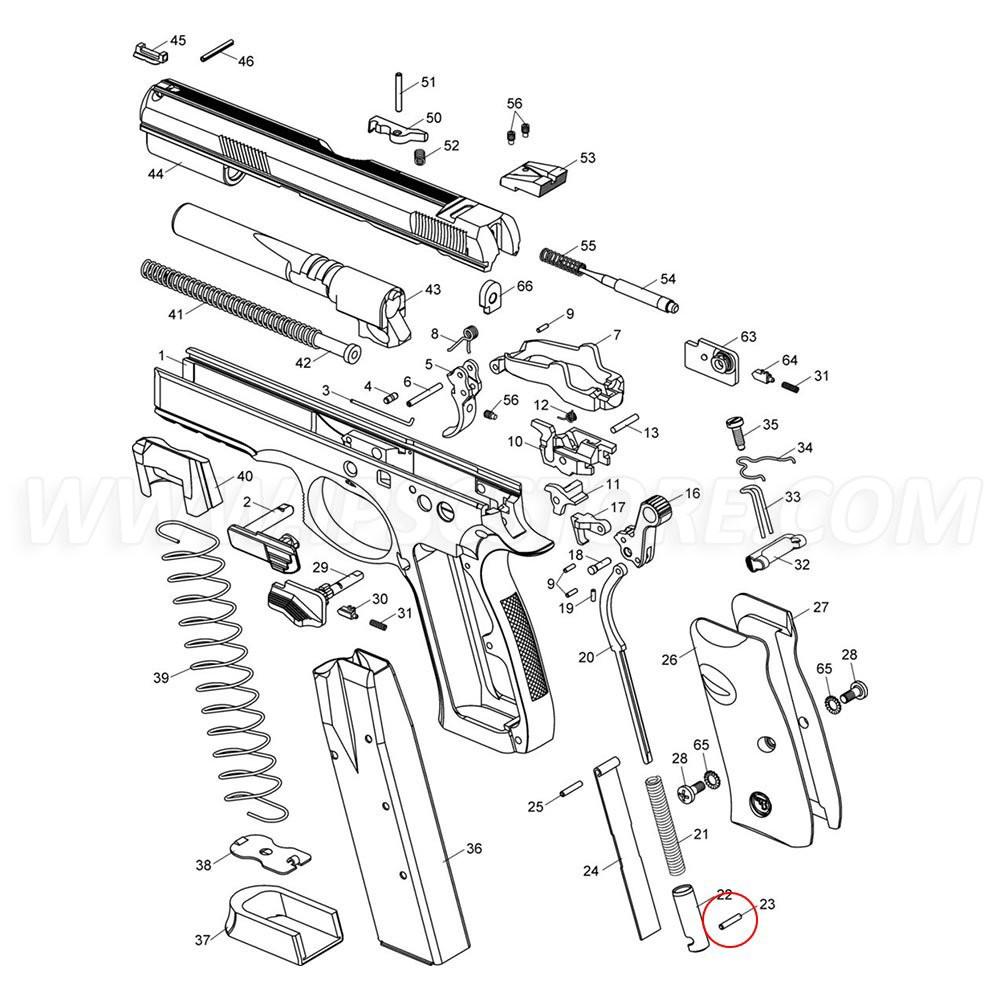 Eemann Tech Main Spring Plug Pin for CZ