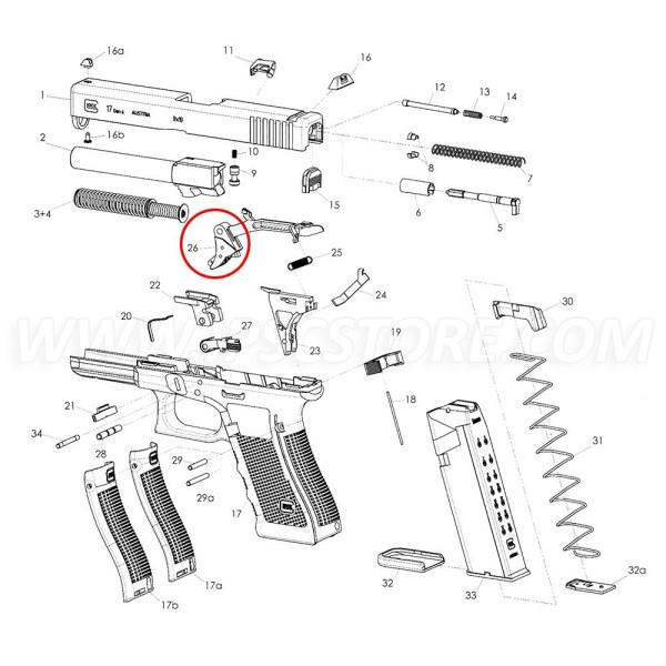 GLOCK GEN3 Détente Droite with trigger bar