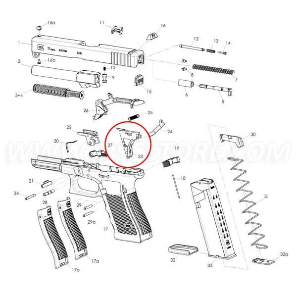 GLOCK GEN3 Trigger mechanism housing with ejector